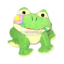 Peluche: rana verde de toallita de 20 cms. de alta