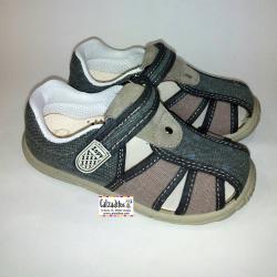 Sandalias de lona en gris marengo y taupé acolchadas con velcro, de Lonettes Zapy for kids