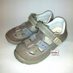 Sandalias de lona en color taupé acolchadas con velcro, de Lonettes Zapy for kids