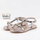 Sandalias para niña en piel platino con joyas sintéticas, de Conguitos