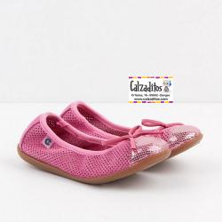 Bailarinas para niña en piel serraje rosa chicle, de Conguitos