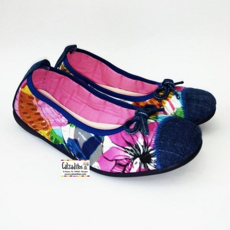Bailarinas en textil estampado de flores, de Zapy for Girls