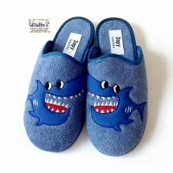 Zapatillas de estar en casa en rizo de color jeans, de Zapy Lonettes