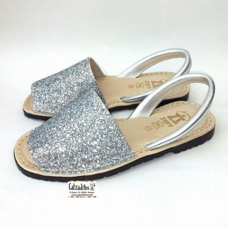 Ibicencas para niña o mujer de piel plata con glitter, de Zapy