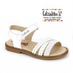 Sandalias de piel para niña modelo Olimpo Blanco, de Pablosky