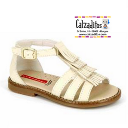 Sandalias de piel beige para niña modelo Tentazione Podwer, de Pablosky