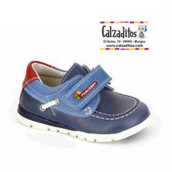 Naúticos para niño en piel bovina en azul marino modelo Maya Océano-Jeans, de Pablosky