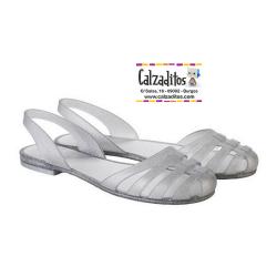 Sandalias de agua estilo bailarina modelo París purpurina plata, de Igor