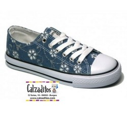 Zapatillas de lona en denim azul con cordones, de Conguitos