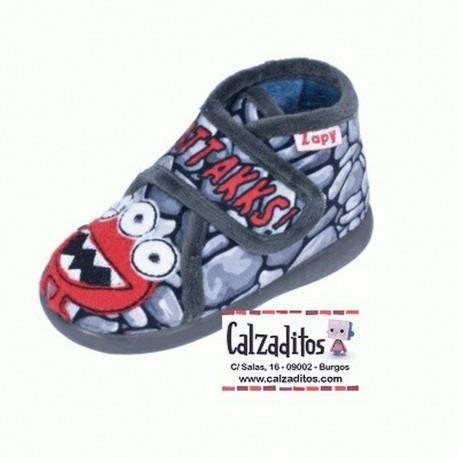 Zapatillas de estar en casa de color gris marengo ATTACKS con velcro, de Zapy