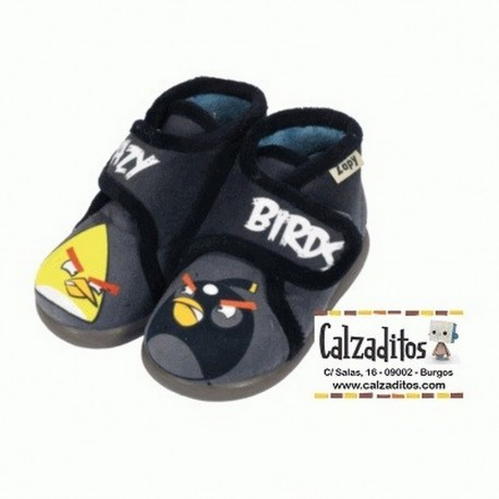 Zapatillas de estar en casa de color gris marengo de CRAZY BIRDS con velcro, de Zapy
