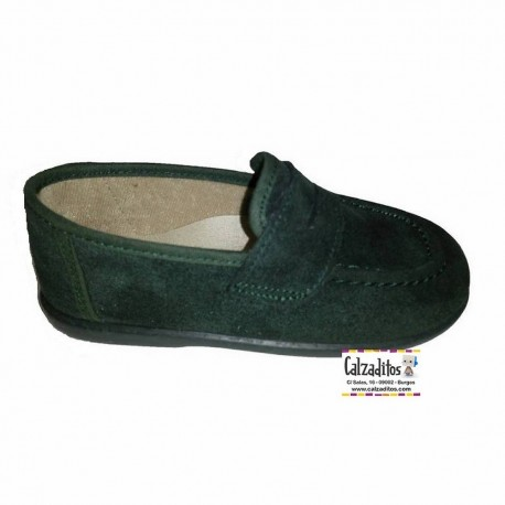 Mocasines antifaz de serratex verde botella, de Batilas