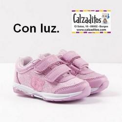 Deportivos con luz en metalizado coco rosa, de Osito by Conguitos
