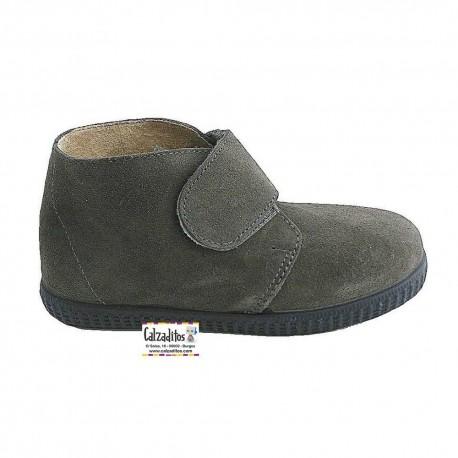 Botas de piel serraje gris con velcro, de Vulnanes
