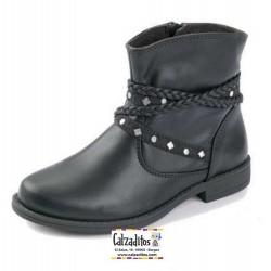 Botas de caña baja en piel negra con cremalleras, de D'Bebé Alta Colección