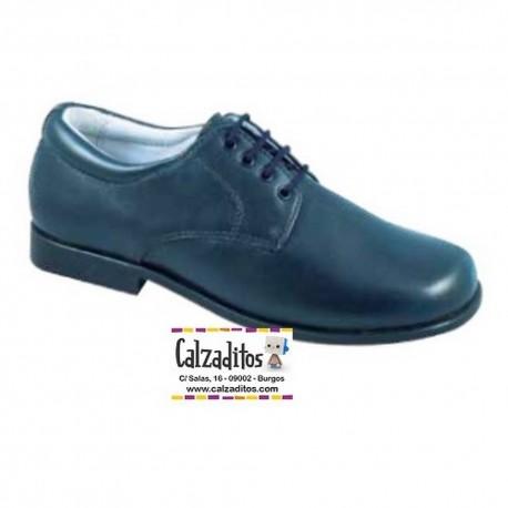 Zapatos de piel de vestir con cordones en azul marino para niño, de D'bebé Alta Colección