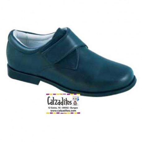 Zapatos de piel de vestir con velcro en azul marino para niño, de D'bebé Alta Colección