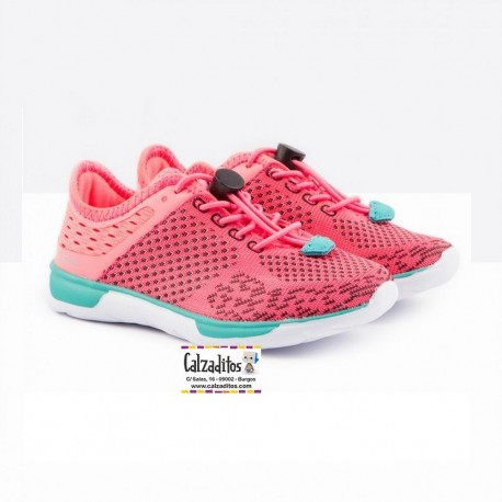 Zapatillas deportivas de niña en rejilla rosa fucsia, de Conguitos Athletic