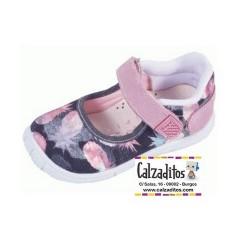 Merceditas de lona negro-rosa acolchadas con velcro, de Lonettes Zapy for girls