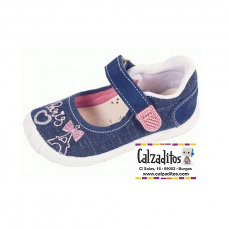 Merceditas de lona vaquera con bordados parisinos, de Lonettes Zapy for girls