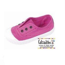Zapatillas de lona en color rosa chicle con efecto deslavado, de Lonettes Zapy