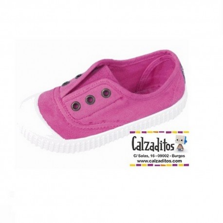 Zapatillas de lona en color rosa chicle con efecto deslavado, de Lonettes Zapy