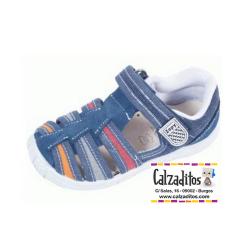 Sandalias de lona vaquera para niño acolchadas con velcro, de Lonettes Zapy for kids
