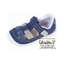 Sandalias de lona vaquera azul para niño acolchadas con velcro, de Lonettes Zapy for kids
