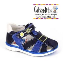 Sandalias de piel para niño en tonos azules con velcro, de Pablosky