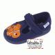 Zapatillas de rizo azul marino para estar en casa con velcro, de Zapy lonettes