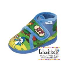 Zapatillas de estar en casa de color azul de Historias Corrientes con velcro, de Zapy