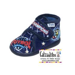 Zapatillas de estar en casa de color marino de Champions con velcro, de Zapy