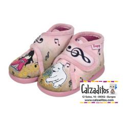 Zapatillas de estar en casa rosas de Gorjuss con velcro, de Zapy