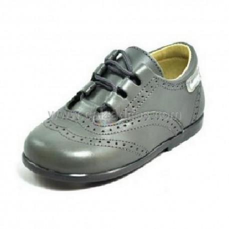 Zapatos de piel gris para niño o niña tipo Inglesito, de Angelitos