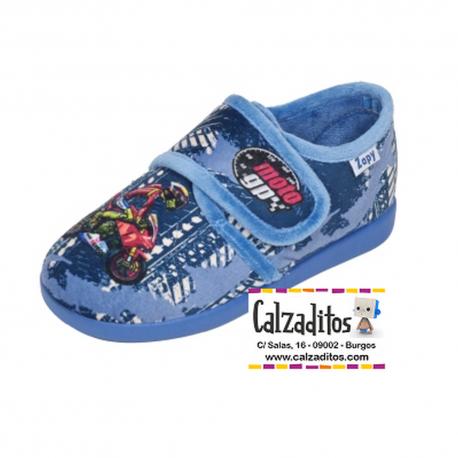 Zapatillas para estar en casa en azul jeans de moto GP con velcro, de Zapy