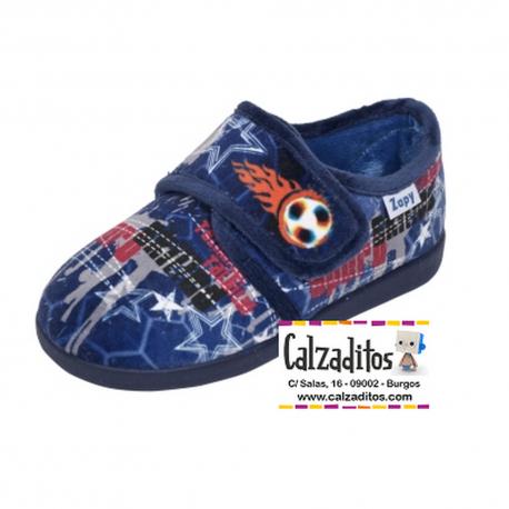 Zapatillas para estar en casa en marino de fútbol con velcro, de Zapy