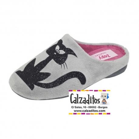 Zapatillas de estar en casa chinela abierta niña en gris, de Zapy