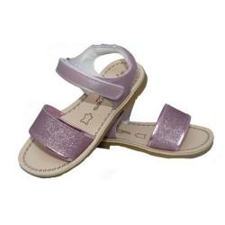 Sandalias para niña en piel de color rosa de Andanines