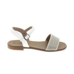 Sandalias de piel con acabado charol blanco de Andanines