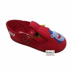 Zapatillas de rizo rojo para estar en casa con hebilla, de Zapy lonettes