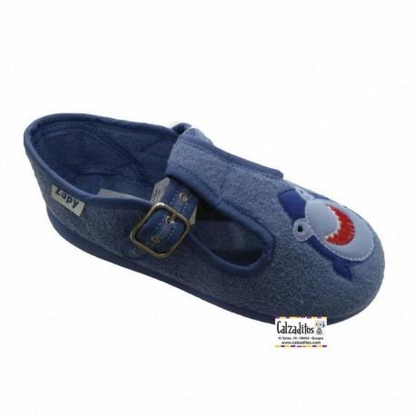 Zapatillas de rizo azul jeans para estar en casa con hebilla, de Zapy lonettes