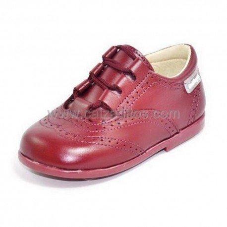 Zapatos de piel burdeos para niño o niña tipo Inglesito, de Angelitos