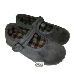 Merceditas de terciopelo gris de Vulca-Bicha