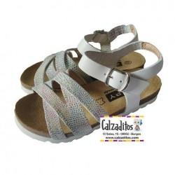 Sandalias para niña de piel con piso bio de Zapy