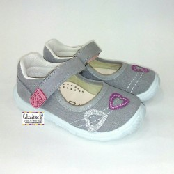 Merceditas de lona en color gris acolchadas con velcro, de Lonettes Zapy for girls