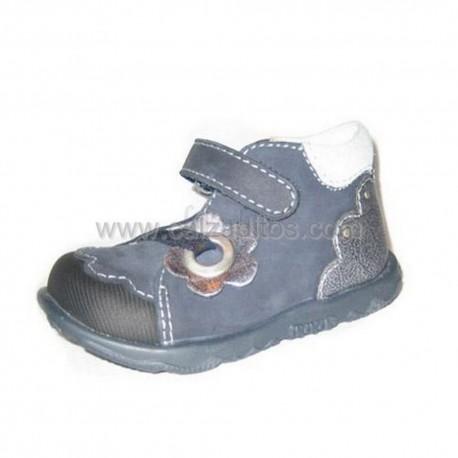 Botitas azul-plata para niña con velcro de Primigi