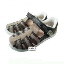 Sandalias de lona en kaki y taupé acolchadas con velcro, de Lonettes Zapy for kids