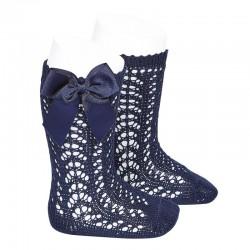 Calcetines altos calados de color azul marino con lazo lateral, de Cóndor