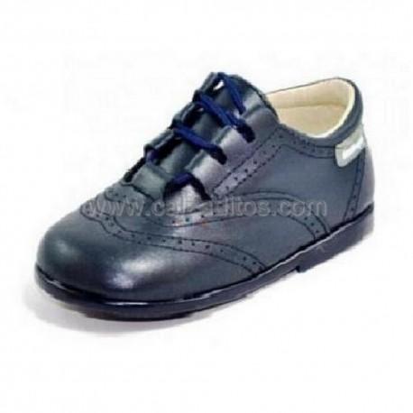 Zapatos de piel azul marino para niño o niña tipo Inglesito, de Angelitos