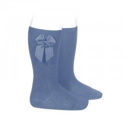 Calcetines altos lisos de color azul francia con lazo lateral, de Cóndor